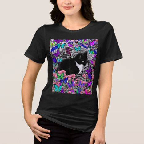 Freckles in Butterflies II - Tuxedo Cat T-Shirt