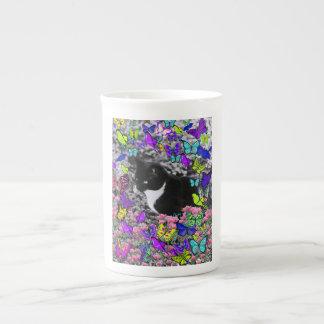 Freckles in Butterflies II - Tuxedo Cat Tea Cup