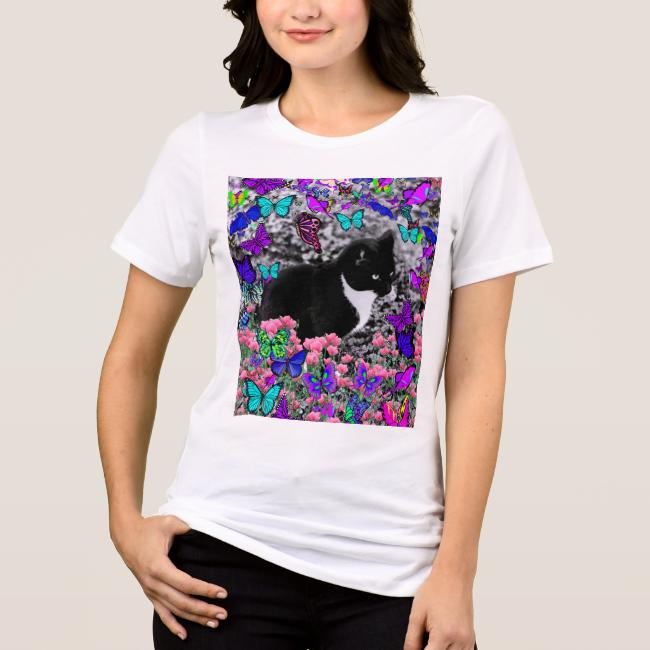Freckles in Butterflies II - Tuxedo Cat Tee Shirt