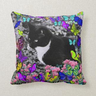Freckles in Butterflies II - Tuxedo Cat Throw Pillow
