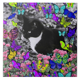 Freckles in Butterflies II - Tuxedo Cat Tile
