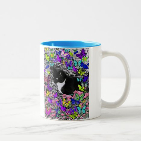 Freckles in Butterflies II - Tuxedo Cat Two-Tone Coffee Mug