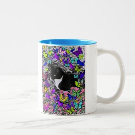 Freckles in Butterflies II - Tuxedo Cat Two-Tone Coffee Mug