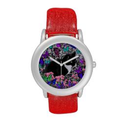 Freckles in Butterflies II - Tuxedo Cat Wrist Watches
