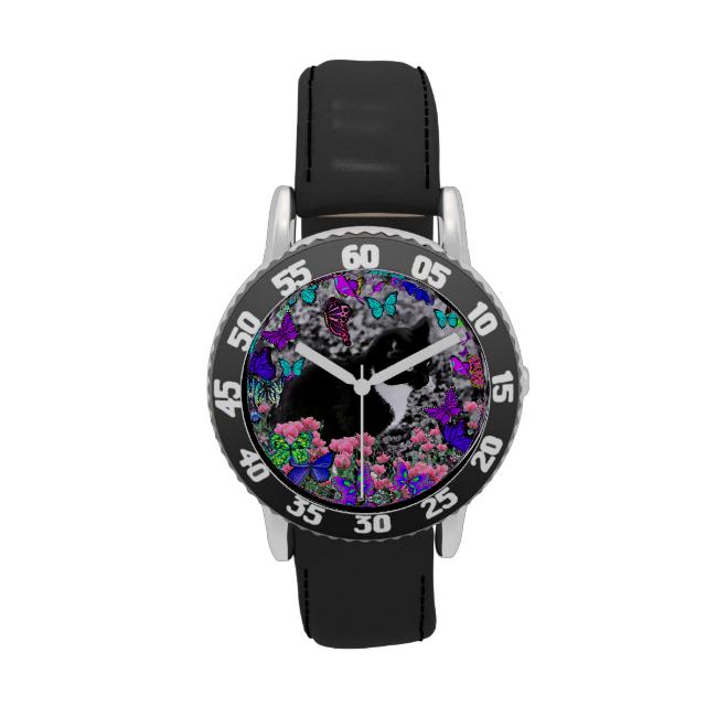 Freckles in Butterflies II - Tuxedo Cat Wristwatch