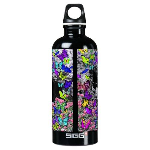Freckles in Butterflies II - Tuxedo Kitty Cat Aluminum Water Bottle