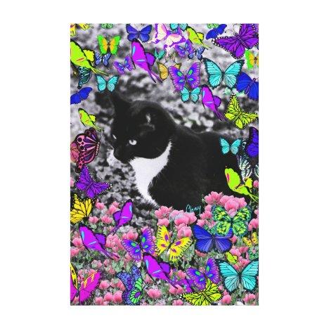 Freckles in Butterflies II - Tuxedo Kitty Cat Canvas Print