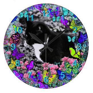 Freckles in Butterflies II - Tuxedo Kitty Cat Large Clock