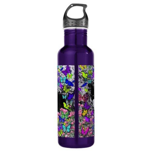 Freckles in Butterflies II - Tuxedo Kitty Cat Water Bottle