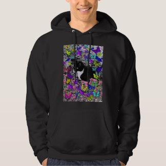 Freckles in Butterflies II - Tuxedo Kitty Hoodie