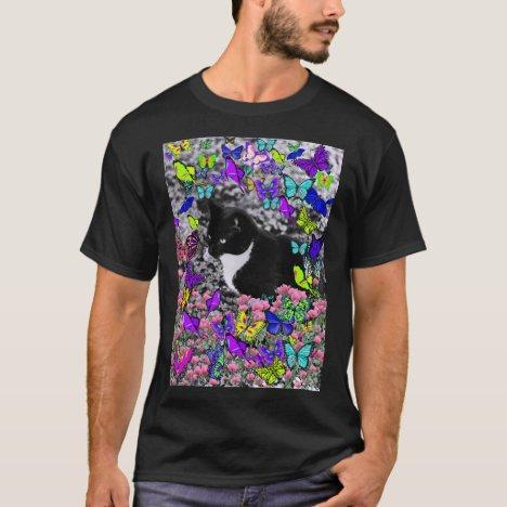 Freckles in Butterflies II - Tuxedo Kitty T-Shirt