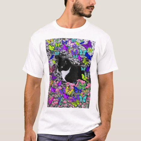 Freckles in Butterflies II - Tuxedo Kitty T-Shirt