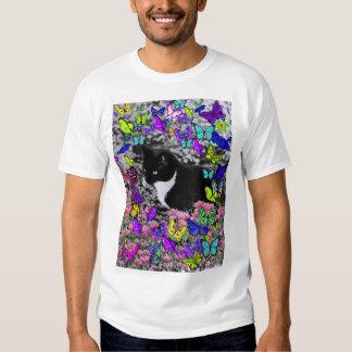Freckles in Butterflies II - Tuxedo Kitty T Shirts