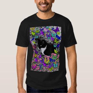 Freckles in Butterflies II - Tuxedo Kitty Tee Shirts