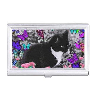 Freckles in Butterflies III, Tux Kitty Cat Business Card Holder