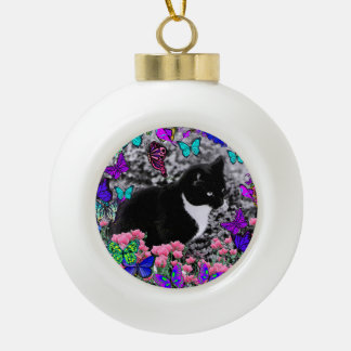 Freckles in Butterflies III, Tux Kitty Cat Ceramic Ball Christmas Ornament