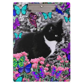 Freckles in Butterflies III, Tux Kitty Cat Clipboard