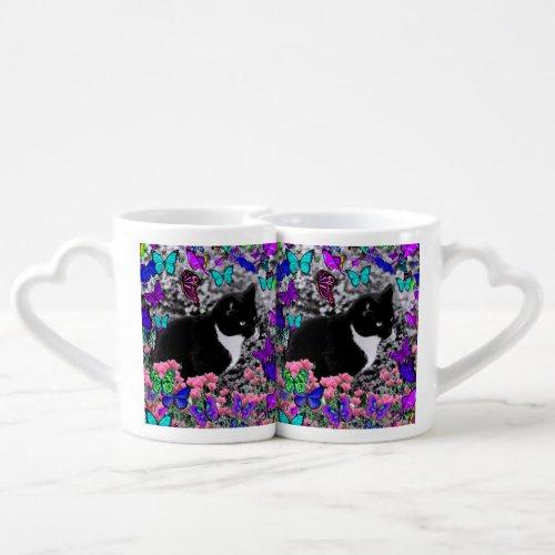Freckles in Butterflies III, Tux Kitty Cat Coffee Mug Set