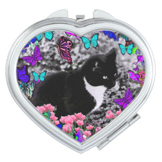 Freckles in Butterflies III, Tux Kitty Cat Compact Mirror