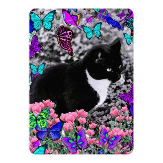 Freckles in Butterflies III, Tux Kitty Cat 5x7 Paper Invitation Card