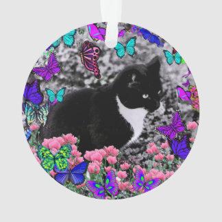 Freckles in Butterflies III, Tux Kitty Cat Ornament