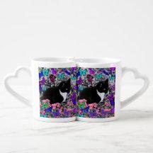 Freckles in Butterflies III, Tux Kitty Cat Lovers Mugs