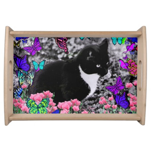 Freckles in Butterflies III, Tux Kitty Cat Serving Tray