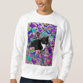 Freckles in Butterflies III, Tux Kitty Cat Sweatshirt