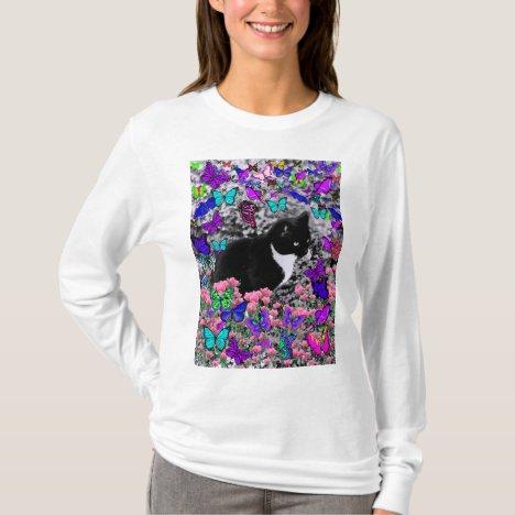 Freckles in Butterflies III, Tux Kitty Cat T-Shirt