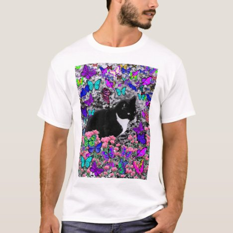 Freckles in Butterflies III, Tux Kitty Cat T-Shirt