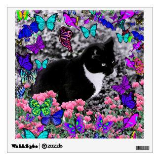Freckles in Butterflies III, Tux Kitty Cat Wall Sticker