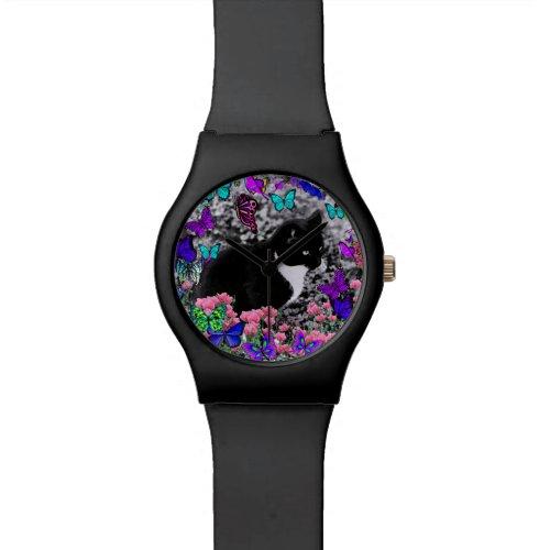 Freckles in Butterflies III, Tux Kitty Cat Wrist Watch