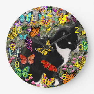 Freckles in Butterflies - Tux Cat Yellow Large Clock