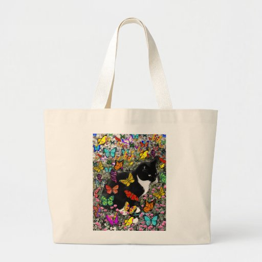 Freckles in Butterflies - Tux Kitty Cat Canvas Bag