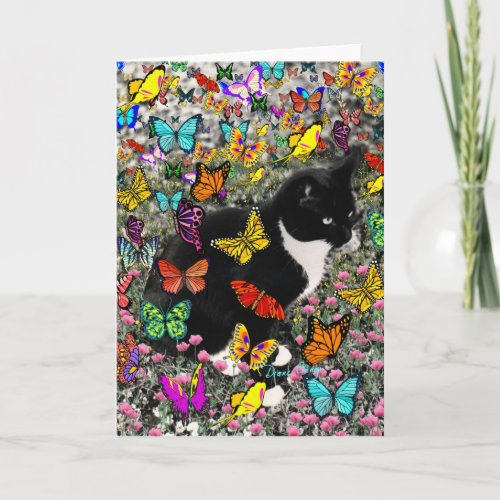 Freckles in Butterflies - Tux Kitty Cat Card