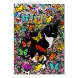 Freckles in Butterflies - Tux Kitty Cat Greeting Card