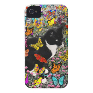 Freckles in Butterflies - Tux Kitty Cat iPhone 4 Case-Mate Case