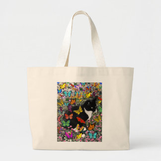 Freckles in Butterflies - Tux Kitty Cat Large Tote Bag