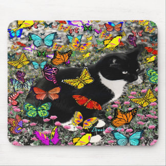 Freckles in Butterflies - Tux Kitty Cat Mousepads