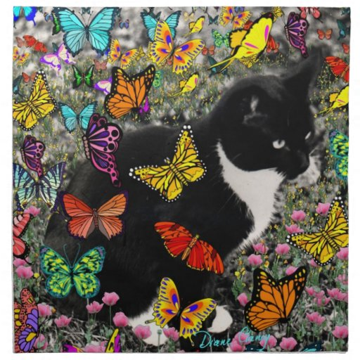 Freckles in Butterflies - Tux Kitty Cat Printed Napkins