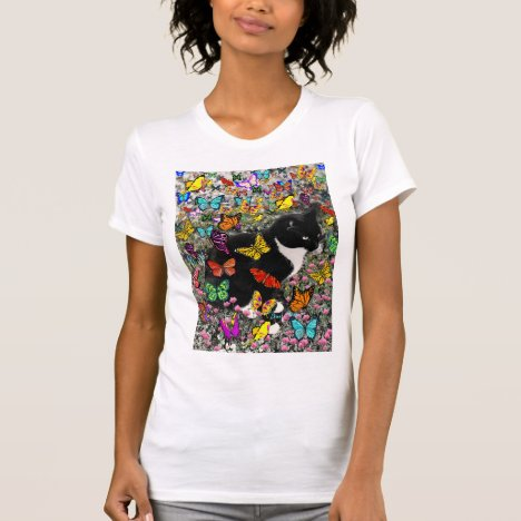Freckles in Butterflies - Tux Kitty Cat T-Shirt