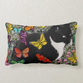 Freckles in Butterflies - Tux Kitty Cat Throw Pillow