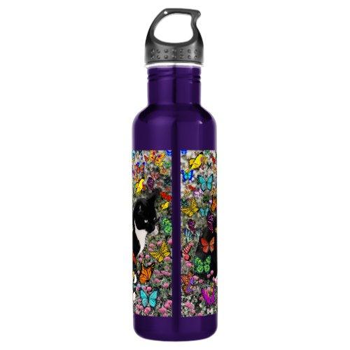 Freckles in Butterflies - Tux Kitty Cat Water Bottle
