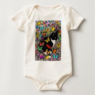 Freckles in Butterflies - Tuxedo Kitty Baby Bodysuit