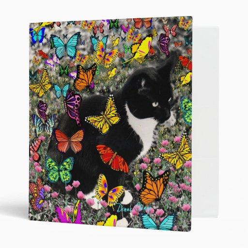 Freckles in Butterflies - Tuxedo Kitty 3 Ring Binders