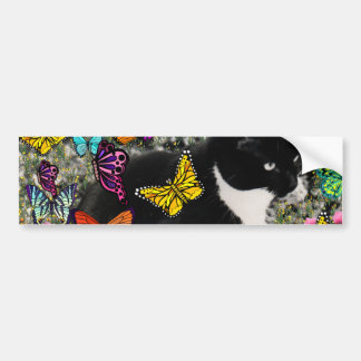 Freckles in Butterflies - Tuxedo Kitty Bumper Sticker