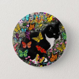 Freckles in Butterflies - Tuxedo Kitty Button