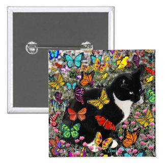 Freckles in Butterflies - Tuxedo Kitty Pin