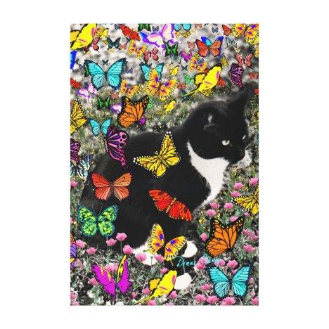 Freckles in Butterflies - Tuxedo Kitty Canvas Print