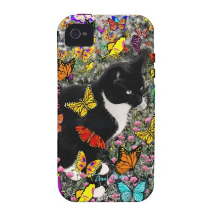 Freckles in Butterflies - Tuxedo Kitty Vibe iPhone 4 Case